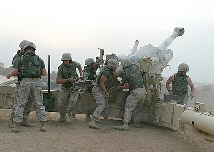 A USMC M198 artillery piece firing outside Fallujah in October 2004 Defense.gov News Photo 041021-M-8096K-036.jpg