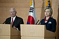 Defense.gov News Photo 100721-N-0696M-299 - Secretary of Defense Robert M. Gates and Secretary of State Hillary Rodham Clinton address the media in Seoul on July 21 2010. The secretaries are.jpg