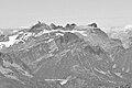 Dents du Midi from Punta Helbronner, 2010 July 2, bw.JPG
