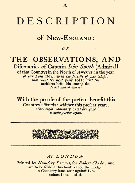 Title page of John Smith's A Description of New England (1616; 1865 reprint) Descr.of.New England-Title page.png
