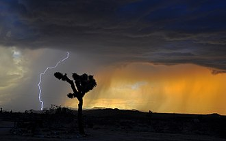 Lightning - A lightning strike from cloud to ground in the California, Mojave Desert