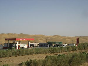 Tarim Desert Highway - PetroChina gas station in the middle of the desert