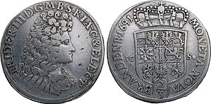 Frederick I of Prussia - Frederick I on a coin from 1691
