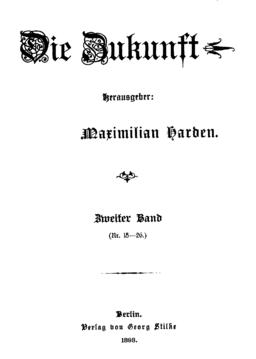 """Strona tytułowa czasopisma """"Die Zukunft"""" (1893)"""