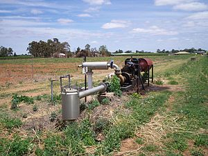 Irrigation in Australia - A diesel irrigation pump in Mildura, Victoria.