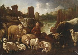 Domenico Brandi - Shepherds and Their Flock by Domenico Brandi, 1736
