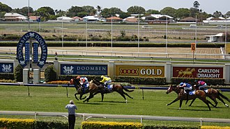 Thoroughbred racing in Australia - Thoroughbred racing at Doomben Racecourse.