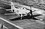 Douglas AD-5W Skyraider of VAW-13 Det.N lands on USS Hornet (CVS-12), in 1960.jpg