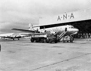 Perth Airport - An ANA DC-4 refuelling at Perth Airport in 1955.