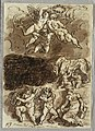 Drawing, Three Putti with Garland; Romulus and Remus Breastfeeding from She-Wolf; Two Putti Playing Cymbals, 1818 (CH 18124327).jpg