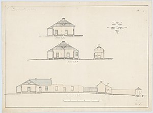 David Keith Ballow - Drawings of the hospital and Ballow's quarters, 1838