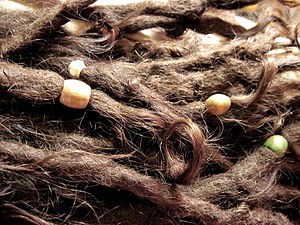 Dreadlocks - Caucasian-textured, hippie dreadlocks decorated with beads