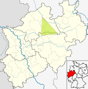 Dreingau - Approximate location of the Dreingau in today's North Rhine-Westphalia