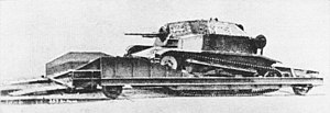 Armoured train - A TKS tankette used as an armoured reconnaissance draisine, an attempt to overcome one of the inflexibilities of the armoured train - being limited to the track
