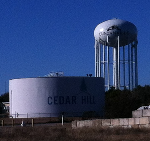Duncanville, Texas - Water towers on the southern edge of Duncanville, northern edge of Cedar Hill.