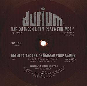 Durium Records - Label of a Durium record pressed for the Swedish market