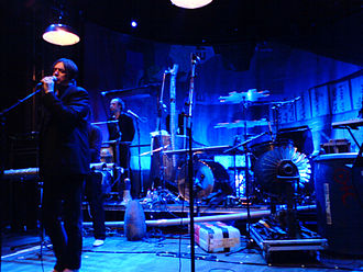 "Einstürzende Neubauten - Live at ""Berns"" in Stockholm, April 2008: Blixa Bargeld (left) and N.U. Unruh (centre-left)"