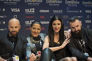 Bosnia and Herzegovina in the Eurovision Song Contest 2016 - Deen, Dalal, Ana Rucner and Jala during a press meet and greet