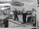 Early Wheelchair Rugby game at Pembrey Airfield near Llanelli, Wales. c1960's Spectators.jpg