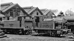 LSWR C14 class - C14 0-4-0T No. 3744 at Eastleigh Locomotive Depot 1946