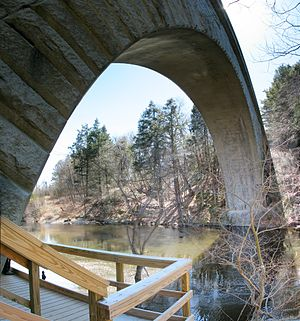 Sudbury Aqueduct - North side of Echo Bridge which carries Sudbury Aqueduct over the Charles River between Needham and Newton