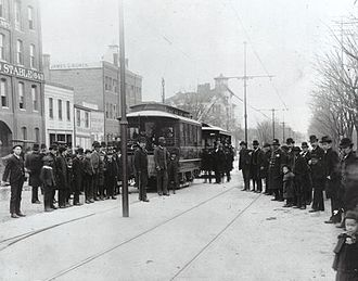 Streetcars in Washington, D.C. - Opening day, Eckington and Soldiers' Home Railway at the terminus of the line at Seventh Street and New York Avenue, NW