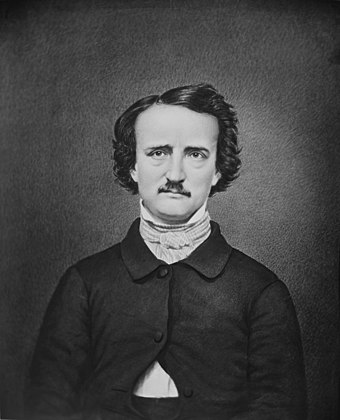 "Poe, in a modern retouched version of the ""Ultima Thule"" daguerreotype Edgar A. Poe - NARA - 528345 (cropped).jpg"