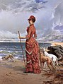 Edmond-Louis Dupain - Elegant Lady Walking Her Greyhounds on the Beach.jpg