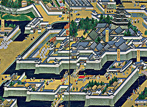 Edo Castle - The main tower (upper right) with the surrounding Honmaru palace, Bairinzaka, Hirakawaguchi Gate and Ninomaru (lower part)
