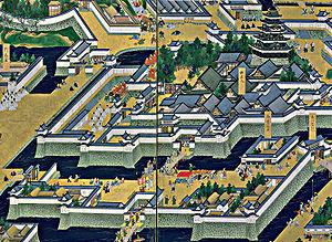 Edo Castle - The main tower (upper right) with the surrounding Honmaru palace, Bairinzaka, Hirakawaguchi Gate and Ninomaru (lower part)