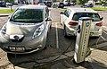 Electric vehicle charging station Ladestasjon for elbil Nissan VW e-golf Storgaten Tønsberg kommune Norway 2017-09-20 01.jpg