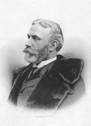 Elliott Fitch Shepard - Crosshatch portrait, based on an 1890 gelatin silver print by Edward Bierstadt