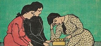 Emil Orlík - Drei Mädchen beim Brettspiel, c. 1907, Farbholzschnitt