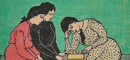 Emil Orlik - Drei Mädchen beim Brettspiel, c.  1907, Farbholzschnitt.jpg