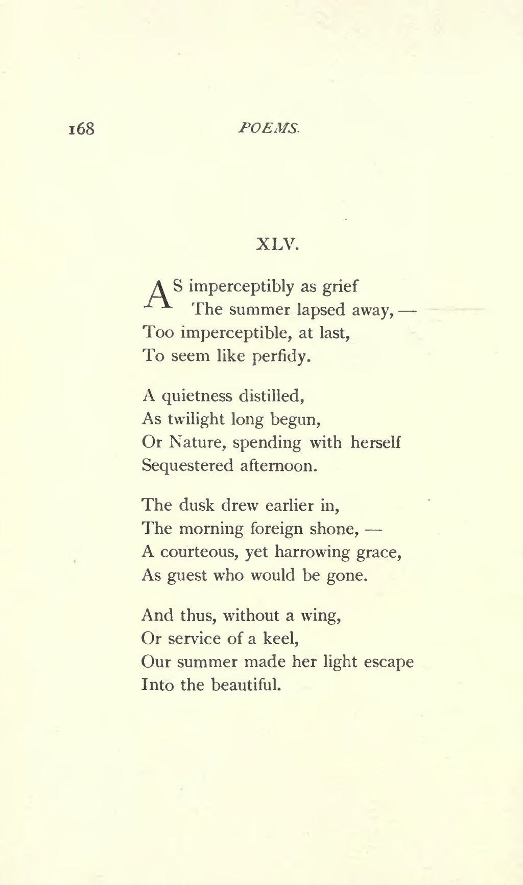 as imperceptibly as grief emily dickinson