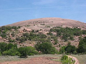 Enchanted Rock - Enchanted Rock, as seen from the trail leading to its summit on a busy hiking day.