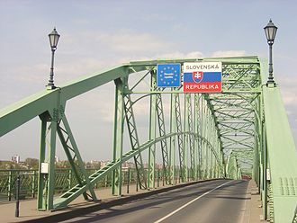 Mária Valéria Bridge - The border between Hungary and Slovakia on the middle of the bridge.