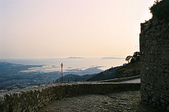 Aegadian Islands - A view from Erice to Favignana and Levanzo. On the horizon Marettimo is faintly visible.