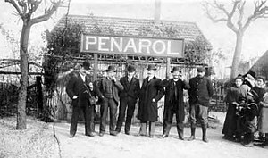 Rail transport in Uruguay - Managers and technical staff of the Central Uruguay Railway (CUR) at Peñarol station, c. 1900
