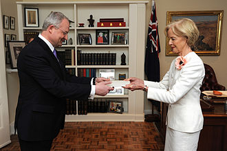 Diplomatic correspondence - Estonian ambassador to Australia Andres Unga presents his letter of credence to Governor-General Quentin Alice Louise Bryce in 2013.