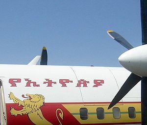 Amharic - Image: Ethiopian Air aircraft showing Ethiopic script