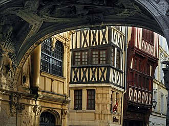 Timber framing - Rue du Gros-Horloge Rouen, France, a city renowned for its half-timbered buildings