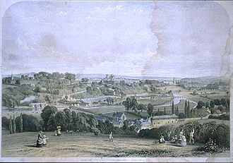 Bristol and Exeter Railway - Exeter in 1844. William Spreat's print shows the original Exeter station before the South Devon Railway was opened.