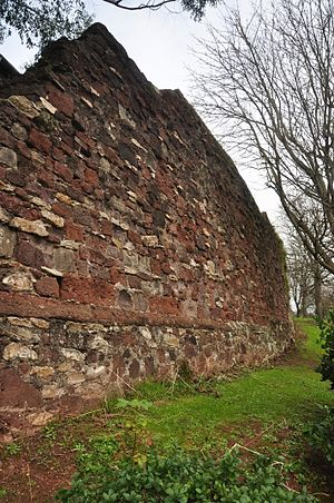 New Red Sandstone - Exeter, Devon, ancient city walls of Isca Dumnoniorum with medieval and Roman elements