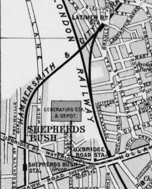 Uxbridge Road tube station - 1900 Map showing location of Uxbridge Road station close to Shepherd's Bush Green