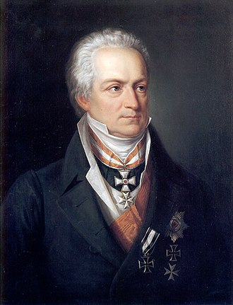 Order of the Red Eagle - Karl August Fürst (Prince) von Hardenberg, ca 1822, by Friedrich Georg Weitsch. Hardenberg wears the badge of the Order of the Red Eagle, 1st Class, above his other orders