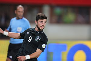 Shane Long - Long in action for the Republic of Ireland against Austria, September 2013