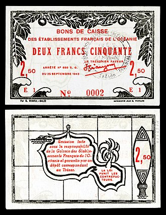 French Polynesian franc - Image: FRE OCE 13 French Oceania 2 francs 50 centimes (1943)