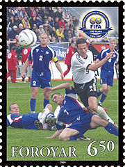 Faroe stamp 492 FIFA 100 years - national footballteam