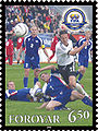 Faroe stamp 492 FIFA 100 years - national footballteam.jpg